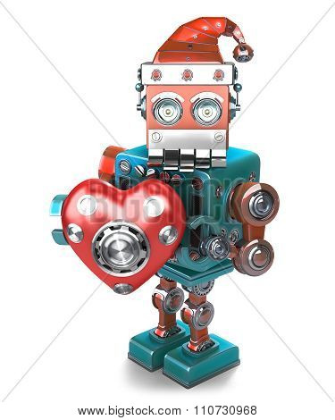Retro Santa Robot With Mechanical Heart. Isolated. Contains Clipping Path