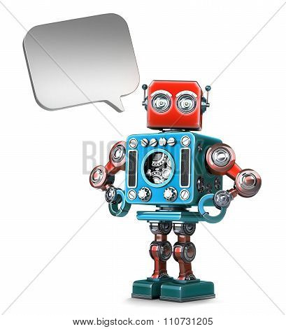 Retro Robot With Speech Bubble