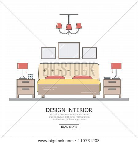 Design interior bedroom. Modern furniture with thin line. Concept for website or infographic outline