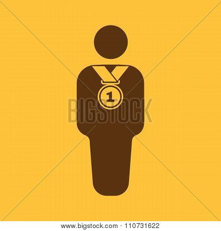 The winner avatar icon. Champion and award, prize, triumph symbol. Flat