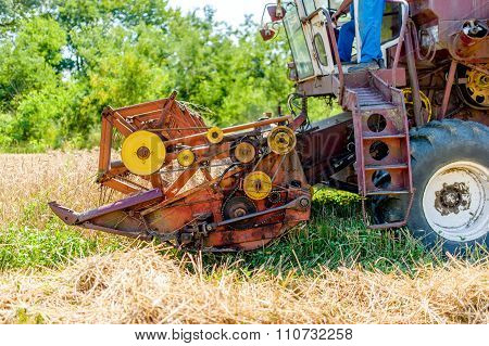 Combine Harvesting Mature Wheat Crops