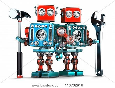 Robot Workers With Tools. Isolated. Contains Clipping Path