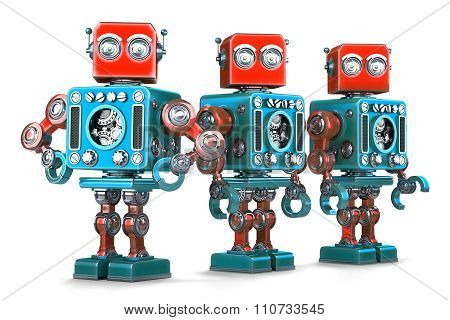 Group Of Retro Robots. Isolated. Contains Clipping Path