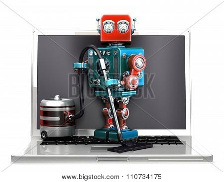 Retro Robot With Laptop And Vacuum Cleaner. Isolated. Contains Clipping Path