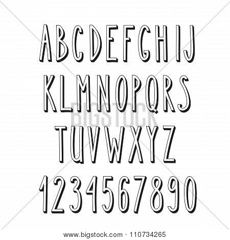 Doodle Narrow Alphabet, Vector Simple Letters