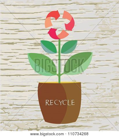 Ecology Concept With Flower And Recycle Sign
