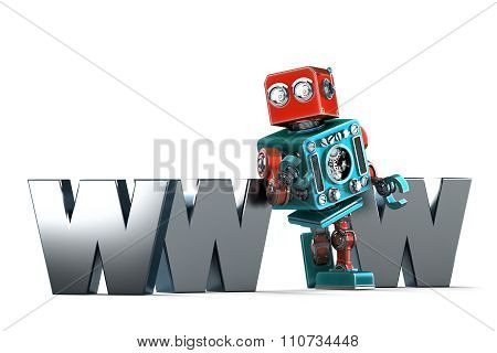 Retro Robot With Www Sign. Technology Concept. Isolated. Contains Clipping Path