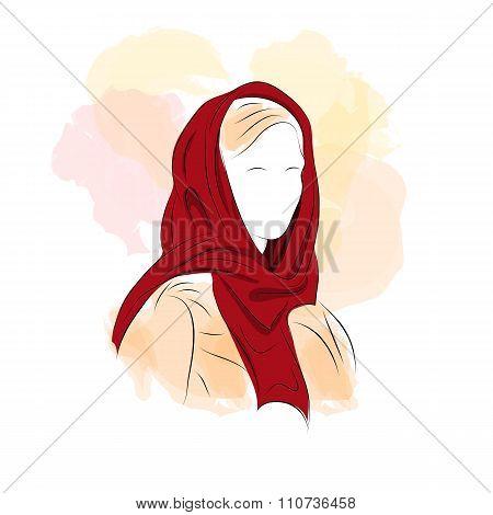 Silhouette Woman In Dark Red Turban