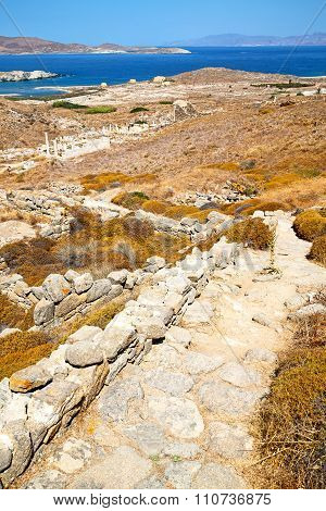 Antique  In Delos Greece The