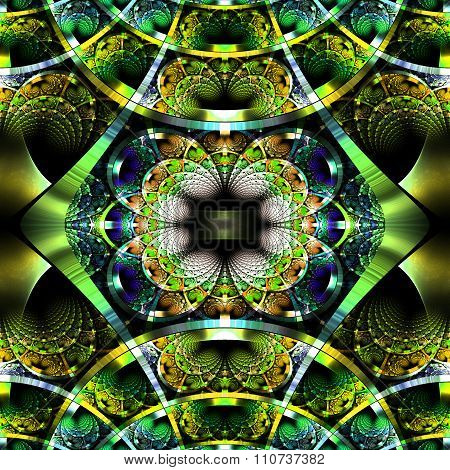 Beautiful Fractal Pattern With Shiny Strips. Collection -  Rhinestones. Artwork For Design,