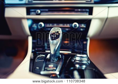 Automatic Gear Shifter In A New, Modern Car. Car Interior with automatic transmission