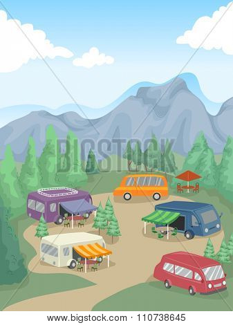 Illustration of Recreational Vehicles Parked in a Camp Site