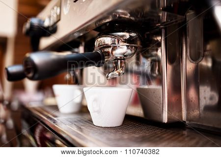 Espresso Machine Making Coffee In Pub, Bar, Restaurant