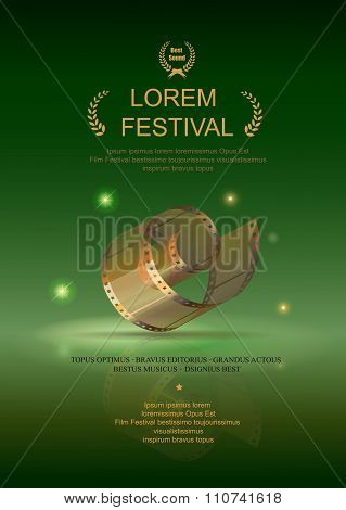 Camera film 35 mm roll gold, festival movie poster, green background, Slide films frame, vector  ill