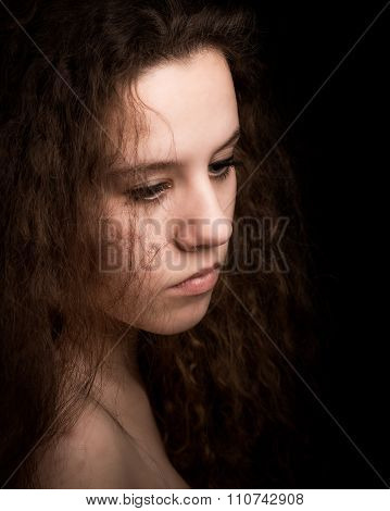 Teenager Woman With Long Curly Ginger Hair