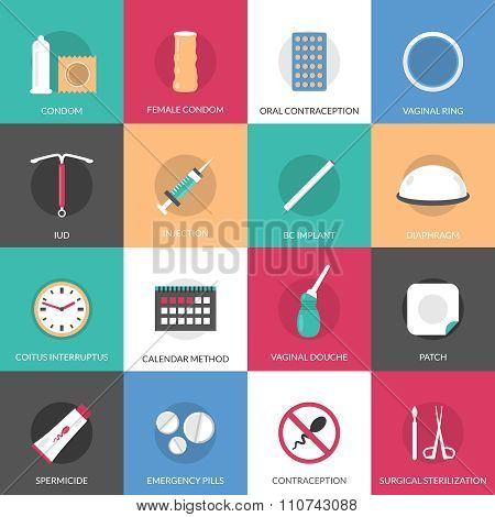 Contraception methods square icons set with calendar injection and oral contraception symbols flat isolated vector illustration