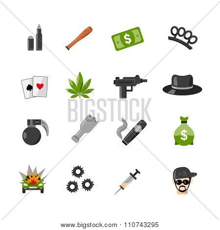 Flat Isolated Gangster Icons