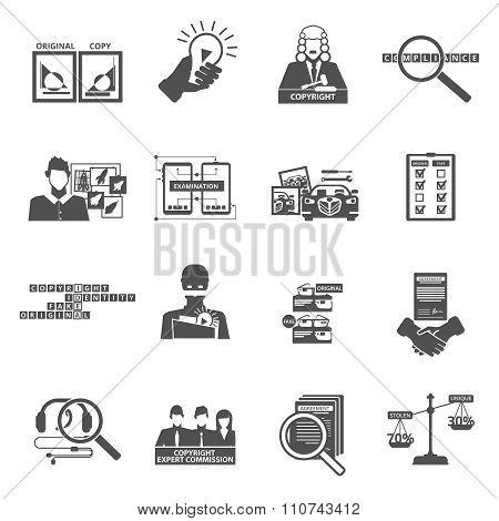 Compliance copyright law black icons set