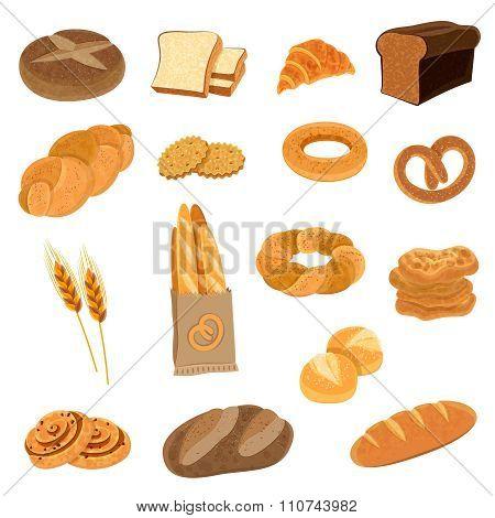 Fresh Bread Flat Icons Set