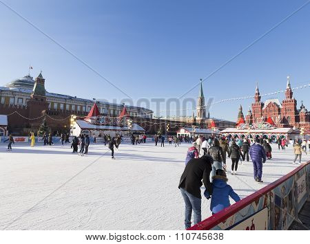 The Skating Rink On Red Square Before Christmas