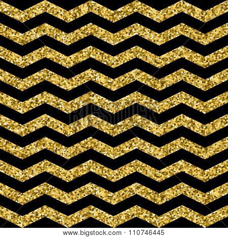 Gold glittering zigzag seamless pattern. Gold and black wave pattern. Vector illustration for web, print, paper, scrapbooking and other design