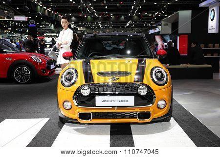Bangkok - December 1:mini Hatch 5-door Car On Display At The Motor Expo 2015 On December 1, 2015 In