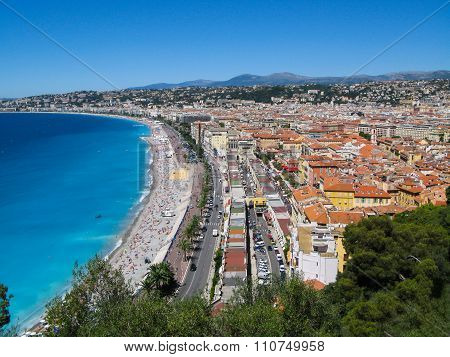 Panoramic view of  the  Azure coast in Nice, France.