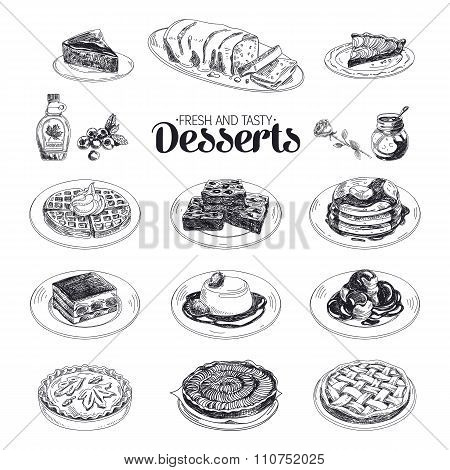 Vector hand drawn sketch restaurant desserts set.