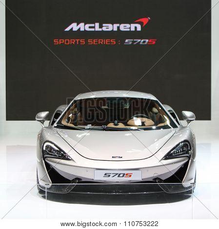 Bangkok - December 1: Mclaren 570S Car On Display At The Motor Expo 2015 On December 1, 2015 In Bang