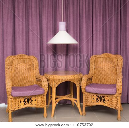 Furniture On A Background Of Curtains