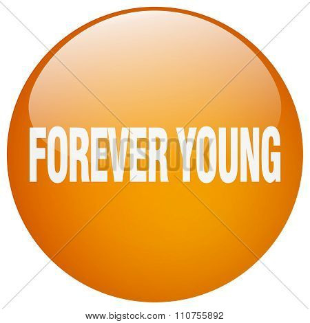 Forever Young Orange Round Gel Isolated Push Button
