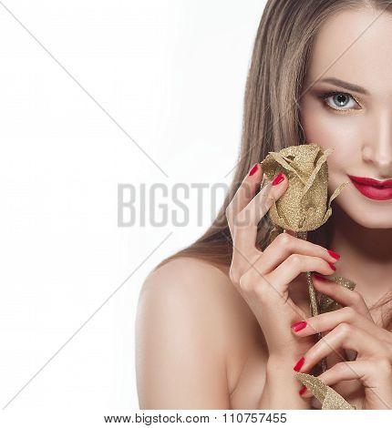 Beautiful Woman Portrait With Rose Flower Studio