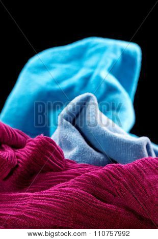 Purple And Blue Fabric On A Black Background