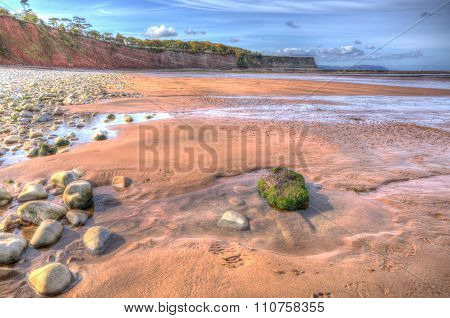 St Audries Bay beach Somerset England uk near Watchet in colourful HDR