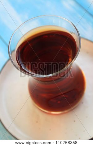 tea in a turkish traditional glass