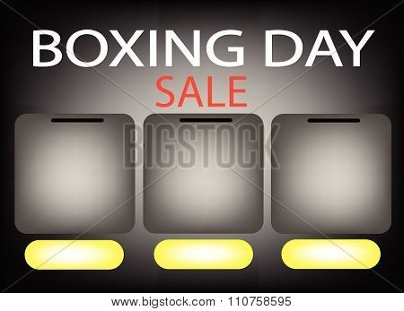 Three Square Label On Boxing Day Sale Background