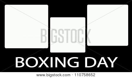 Three Square Label On Boxing Day Background