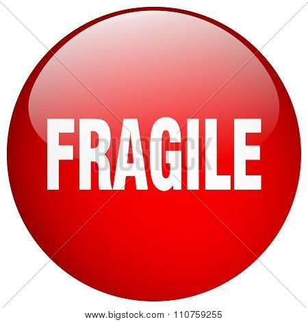 Fragile Red Round Gel Isolated Push Button