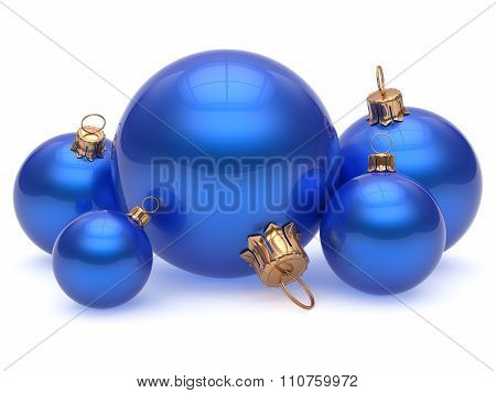 Christmas Ball Adornment Decoration Glossy Blue New Years Eve
