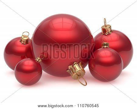 Christmas Ball Adornment Decoration Red Shiny New Year's Eve