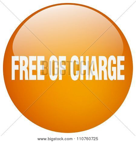 Free Of Charge Orange Round Gel Isolated Push Button