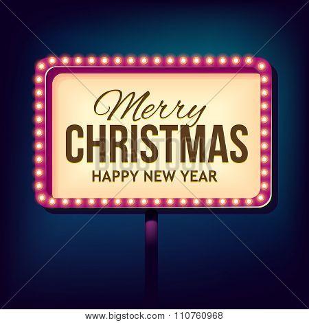 Congratulation to Christmas with Night retro lights