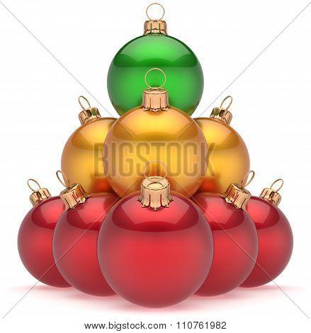 Christmas Balls Multicolored Pyramid Top Green Leader Winner