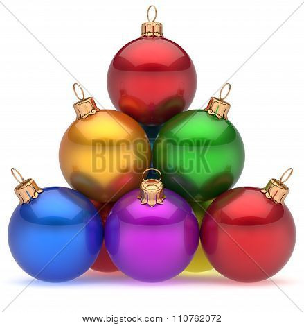 Christmas Balls Pyramid Multicolored Red Leader On Top Hierarchy