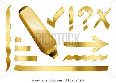 Gold Marker Symbols Lines