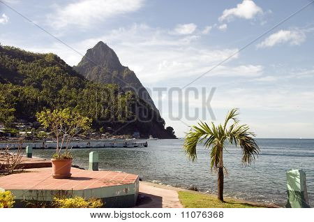 Waterfront Park Soufriere St. Lucia With View Of Famous Twin Piton Mountains