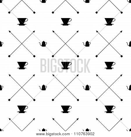 Pour Over Dripper And Kettle Pattern - Black And White Edition