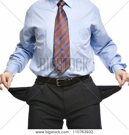 Businessman Showing Empty Pockets