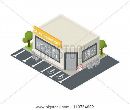 Vector isometric supermarket building icon.