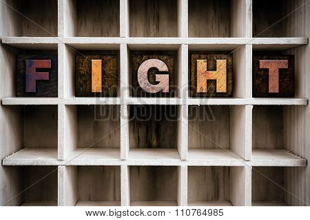 Fight Concept Wooden Letterpress Type In Draw